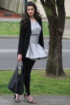 black H&M leggings - silver warehouse dress - black Zara blazer