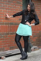 black H&M boots - aquamarine Dotti dress - black H&M sweater