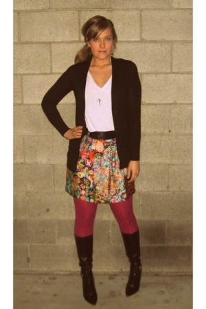 black banana republic sweater - pink merona tights - gold See by Chloe skirt - b