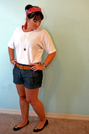 black tory burch shoes - blue Forever 21 shorts - brown H&M belt - white America