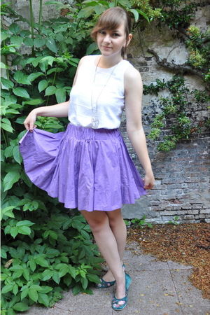 white thrifted top - purple H&M skirt - green Famout Footwear shoes - gold thrif