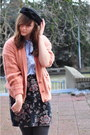 Black-urban-outfitters-shoes-black-monki-hat-burnt-orange-thrifted-cardigan-