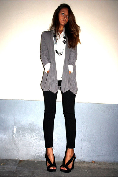 silver BASICMILANO cardigan - black BASICMILANO pants - black shoes