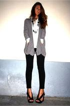 silver BASICMILANO cardigan - black BASICMILANO pants - black shoes