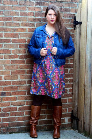 tawny Steve Madden boots - merona dress - blue Old Navy jacket