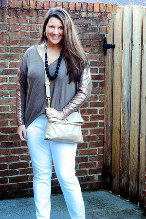 light brown Tobi sweater - white Old Navy jeans - camel tory burch bag