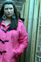 salmon Maurices coat - blue Old Navy jeans - aquamarine baublebar earrings
