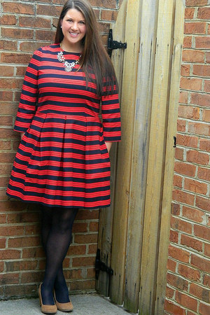 red Gap dress - blue Old Navy jacket - camel Target wedges