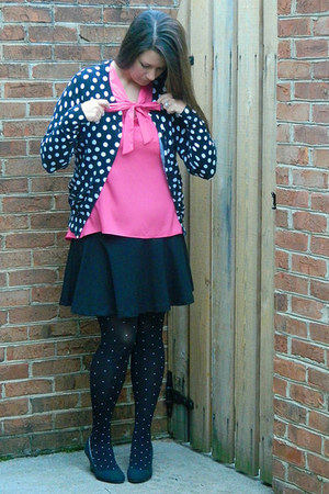 black Old Navy tights - bubble gum francescas shirt - black Old Navy skirt