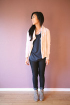 light pink JCrew sweater - silver Dolce Vita shoes - teal Nordstrom blouse