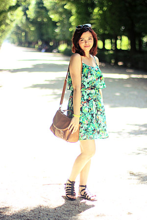 green Stradivarius dress - tawny F&F bag - green Gate sunglasses