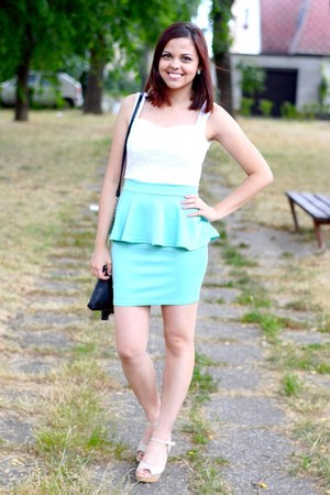black Primark bag - aquamarine Oasapcom dress - neutral Primark heels