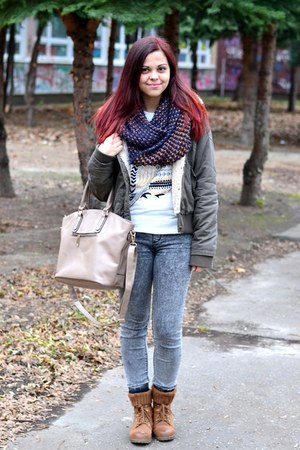 white Choies t-shirt - brown CCC boots - dark khaki jennyfer coat