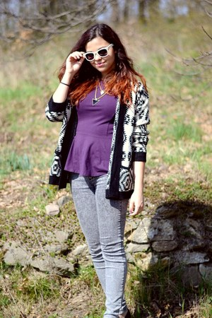black OASAP cardigan - heather gray pull&bear jeans - gold OASAP necklace