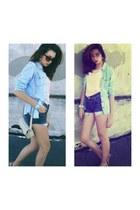 peach blouse - navy jeans - sky blue shirt - dark brown sunglasses