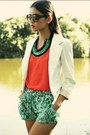 White-blazer-carrot-orange-shirt-turquoise-blue-pants