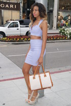 periwinkle pencil LuLus skirt - ivory satchel LuLus bag