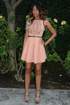 peach lazer cut Sugarlips dress - neutral leopard print NyLa heels