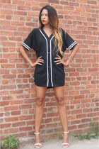 black rihanna jersey River Island dress - white strappy Zara heels