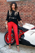 red motorcycle Zara pants - black oversized Zara sweater