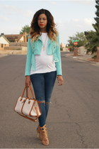 navy ripped asos jeans - turquoise blue motorcycle Bebe jacket