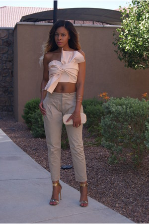 light pink bow cameo top - tan tailored Zara pants