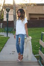 Light-blue-boyfriend-topshop-jeans-white-tee-missguided-shirt