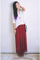 ruby red wide legged Sheinside pants - white goodkoop bag