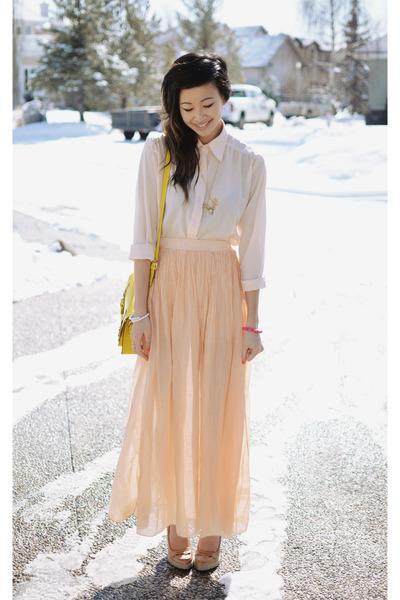 peach silk maxi Love skirt - GoodNight Macaroon blouse