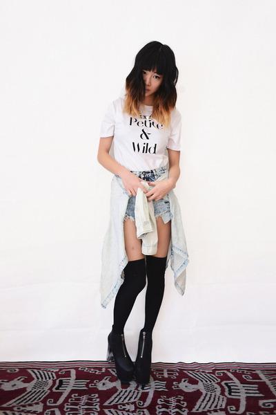 light blue Shop Akira shirt - light blue denim beginning boutique shorts