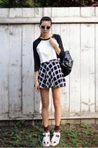white Forever 21 shirt - black Chicwish bag - white tarte sunglasses