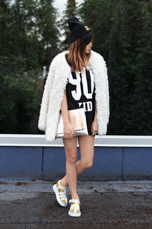 white Chicwish jacket - black cc beanie time hat - silver Choies bag