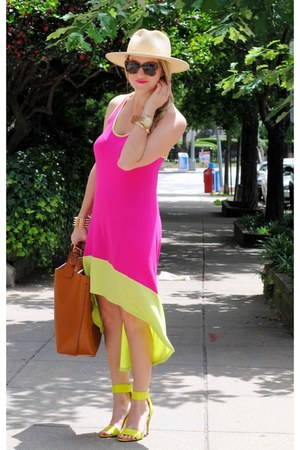 hot pink JCPenney dress - tan Zara bag - brown Karen Walker sunglasses