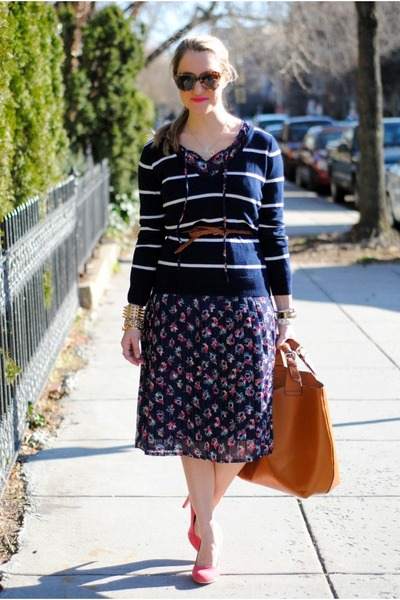 navy vintage dress - navy Forever 21 blouse - bubble gum asos heels