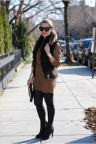 black H&M boots - tan Zara dress - black House of Harlow 1960 sunglasses