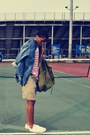 Blue-jean-arizona-shirt-olive-green-aeropostale-bag-mustard-shorts-shorts-