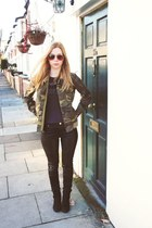 Ebay jacket - next boots - Bershka pants