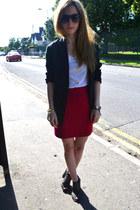 bf blazer - Zara t-shirt - thrifted vintage skirt - Urban Outfitters heels