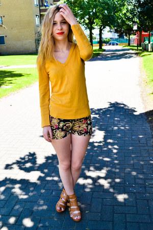 Sheinside shorts - Mango jumper - H&M wedges
