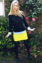 DIY necklace - H&M shirt - River Island skirt - H&M jumper