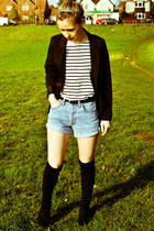 Levis shorts - next boots - Seashells vintage blazer - H&M top