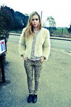 new look jeans - Seashells vintage boots - Seashells vintage coat - H&M blouse