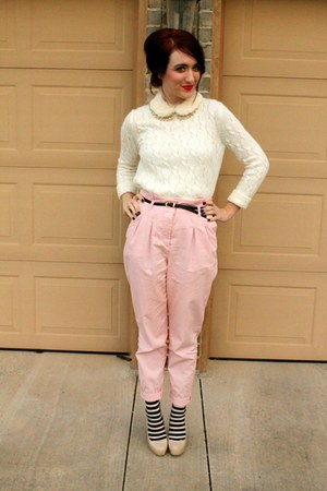 fur collar vintage necklace - Topshop pants - Guess heels