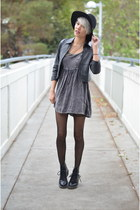 black clemency Dr Martens boots - charcoal gray babydoll Urban Outfitters dress