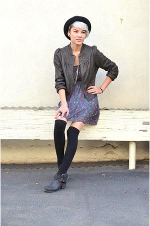 American Rag boots - brandy melville dress - DOMA Leather jacket - H&M socks