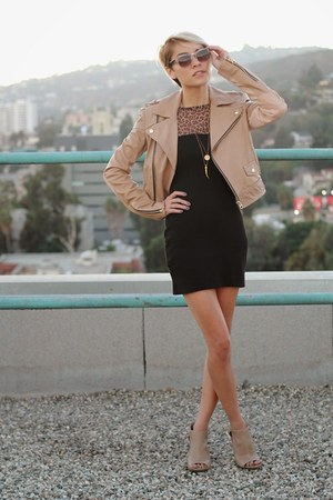 beige cut out boots - black leopard print dress - beige leather jacket
