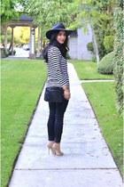 black madewell jeans - dark gray asos hat - black vintage Chanel bag
