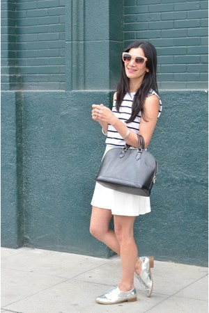 silver JustFab shoes - black Louis Vuitton bag - white Zara skirt