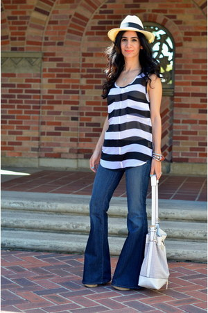 ivory just fab bag - navy J Brand jeans - black BB Dakota top