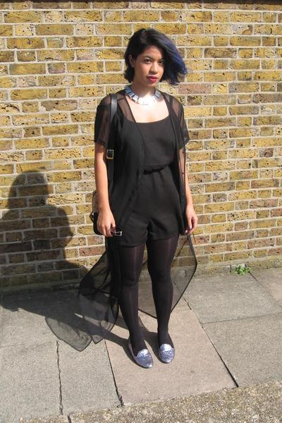 sheer vintage dress - Monki romper - Topshop necklace - glitter Aldo flats